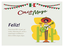 Feliz Cinco de Mayo. Mexican national fast food and guitar stock illustration