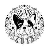 2018 feliz com cão Fotografia de Stock