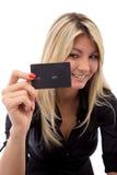 Feliz com cartão de crédito foto de stock