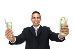 Feliz com dólares americanos Fotografia de Stock Royalty Free