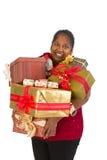 Feliz com presentes de Natal imagens de stock