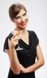 Feliz comemore o retrato da mulher no branco Imagem de Stock Royalty Free