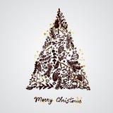 Feliz composición de los elementos de la decoración del árbol de navidad ilustración del vector