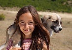 Feliz con el perrito Fotografía de archivo