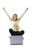Feliz con la computadora portátil Imagen de archivo libre de regalías