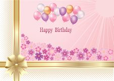 Feliz cumpleaños, aniversario, fondo, celebración, tarjeta de felicitación, fondo floral libre illustration