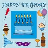 Feliz cumpleaños azul Fotos de archivo libres de regalías