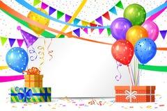 Feliz cumpleaños Balones de aire, cajas de regalos, banderas Foto de archivo libre de regalías