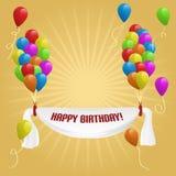 Feliz cumpleaños. Bandera con los globos Imagen de archivo