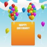 Feliz cumpleaños. Bandera con los globos Imagenes de archivo