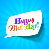 Feliz cumpleaños - burbuja de los saludos Foto de archivo libre de regalías
