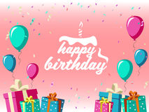 Feliz cumpleaños - celebre con el partido de la caja de regalo, del globo y de la cinta y el diseño rosado del vector del fondo libre illustration