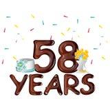 Feliz cumpleaños cincuenta y ocho 58 años Foto de archivo libre de regalías