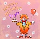 Feliz cumpleaños clown05 Foto de archivo libre de regalías