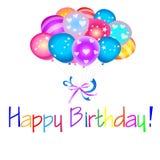 Feliz cumpleaños con los globos Fotos de archivo libres de regalías