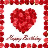 Feliz cumpleaños con un corazón de rosas Imagen de archivo