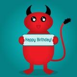 ¡Feliz cumpleaños de la postal! El monstruo lindo con una cola y los cuernos es h Imagen de archivo libre de regalías
