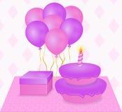 Feliz cumpleaños de la postal en colores rosados y púrpuras Imagenes de archivo