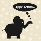 Feliz cumpleaños de la tarjeta simple Silueta de la historieta del elefante, clou Imágenes de archivo libres de regalías