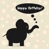 Feliz cumpleaños de la tarjeta simple Silueta de la historieta del elefante, clou libre illustration