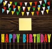Feliz cumpleaños de las letras coloridas en el palillo Guirnalda del arco iris de la Florida libre illustration