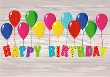 Feliz cumpleaños de las letras coloridas en los globos Tarjeta de felicitación o adentro ilustración del vector