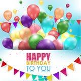 Feliz cumpleaños de los globos coloridos en el fondo blanco ilustración del vector