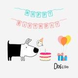 Feliz cumpleaños del perro y del pájaro Foto de archivo libre de regalías