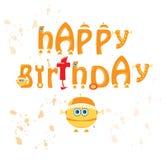 feliz cumpleaños del robot del alfabeto Foto de archivo libre de regalías