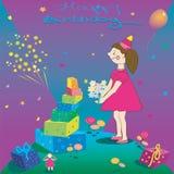 Feliz cumpleaños Ejemplo de la muchacha del regalo y Imágenes de archivo libres de regalías