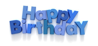Feliz cumpleaños en cartas azules fotos de archivo