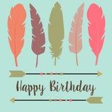 Feliz cumpleaños en estilo del boho Imagen de archivo libre de regalías