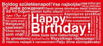 Feliz cumpleaños en tarjeta de felicitación del wordcloud de los otros idiomas ilustración del vector