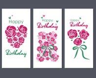 Feliz cumpleaños Fije de tres tarjetas de felicitación stock de ilustración