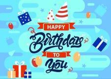 Feliz cumpleaños fondo colorido en estilo plano con los regalos, presentes, cintas, ejemplos de los globos Vector stock de ilustración