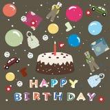 Feliz cumpleaños - fondo del saludo para los cabritos Imagen de archivo
