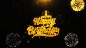Feliz cumpleaños la tarjeta de felicitaciones de los deseos, invitación, fuego artificial de la celebración colocó ilustración del vector