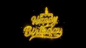 Feliz cumpleaños la tipografía escrita con las partículas de oro chispea los fuegos artificiales