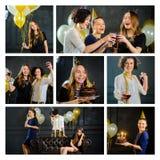 Feliz cumpleaños Las mujeres jovenes celebran el día de un cumpleaños del ` s del amigo Fotos de archivo