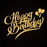 Feliz cumpleaños - letras de la mano del brillo del oro encendido Fotografía de archivo