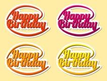 Feliz cumpleaños, letras de la mano, estilo moderno del texto, etiqueta engomada, vector Imagen de archivo libre de regalías