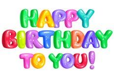Feliz cumpleaños letras divertidas brillantes Fotografía de archivo libre de regalías