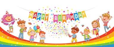 Feliz cumpleaños Niños que celebran con el regalo, el confeti de la torta y globos libre illustration
