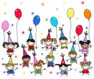 Feliz cumpleaños o fiesta de bienvenida al bebé ilustración del vector