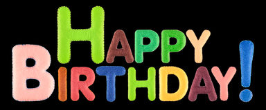 Feliz cumpleaños Palabras en fondo negro stock de ilustración