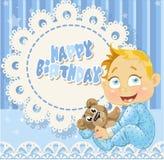 Feliz cumpleaños para la tarjeta a cielo abierto azul del bebé Imágenes de archivo libres de regalías