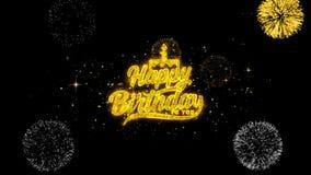 Feliz cumpleaños partículas de oro del centelleo del texto con la exhibición de oro de los fuegos artificiales stock de ilustración