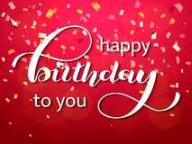 Feliz cumpleaños poniendo letras Cita congratulatoria para la bandera o la postal Ilustración del vector ilustración del vector