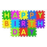 Feliz cumpleaños - rompecabezas del alfabeto Fotografía de archivo
