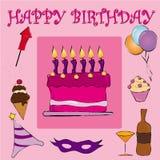 Feliz cumpleaños rosado Imagen de archivo libre de regalías